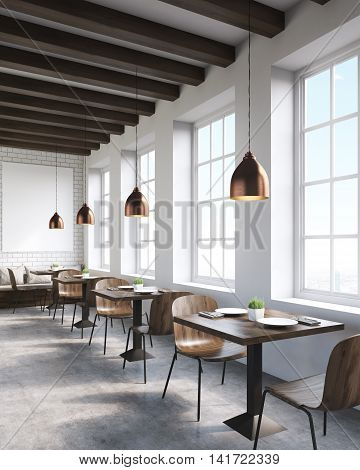 Local cafe interior in big city. Square tables with wooden chairs. Big window. Lamps and picture on wall. Concept of local business. 3d rendering. Mock up.