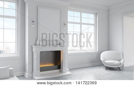 Side view of classic living room interior with concrete floor white armchair windows with city view and a blank picture frame above fireplace. Mock up 3D Rendering