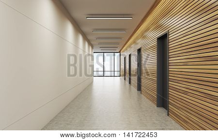 Office lobby interior with white and wooden walls. Concept of office building. 3d rendering. Mock up
