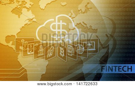 Fintech Financial Technology Business Banking Service Background