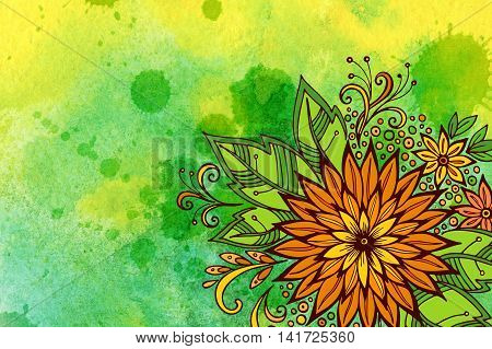 Floral Pattern, Symbolic Orange Flowers and Leafs, Colorful Green and Yellow Ornament on Hand-Draw Watercolor Painting Background