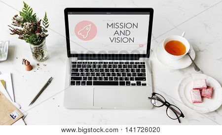 Ideas Business Mission Vision Rocketship Spaceship Graphic Concept