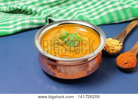 Indian curry, a traditional and popular food, made with vegetables, lentils and sambar powder.
