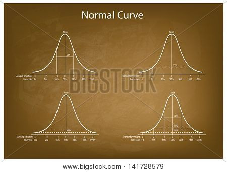 Business and Marketing Concepts Illustration Set of 4 Gaussian Bell Curve or Normal Distribution Curve on Green Chalkboard Background.