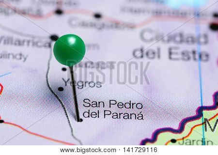 San Pedro del Parana pinned on a map of Paraguay