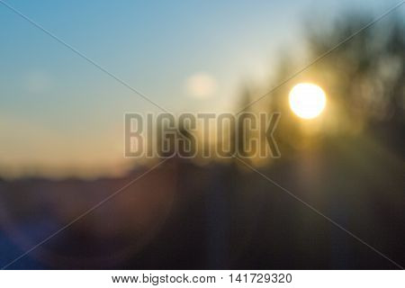 Blurred summer sunset with trees on background