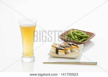 Beer and sushi and green soybeans