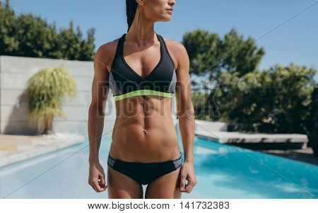 Fitness Woman In Sportswear With Muscular Abs