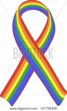 Striped memorial LGBT ribbon. Colorful vector illustration.