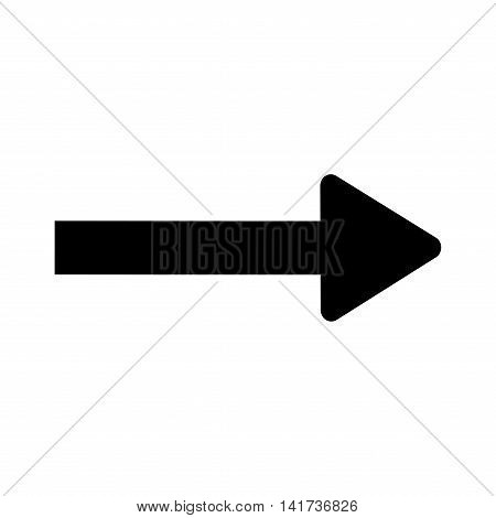 Traffic sign. Direction symbol isolated on white background. Monochrome icon. Black arrow. Pointer concept. Information badge. Modern art scoreboard. Course template. Stock Vector illustration
