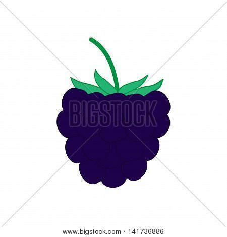 Sign flat blackberry. Blue fruit icon isolated on white background. Color organic food symbol. Healthy concept. Trendy eco vegetarian plane mark. Freshness berry logo. Stock vector illustration