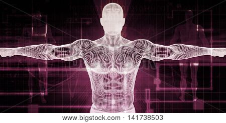 Medical Body Technology as a Futuristic Concept 3d Render