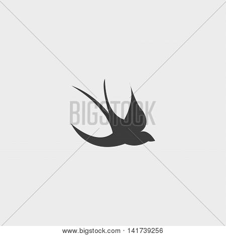 Swallow icon in a flat design in black color. Vector illustration eps10