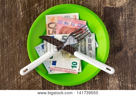 High price of food concept with platemoneyfork and knife