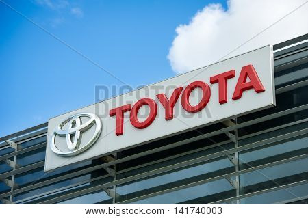 VILNIUS - AUGUST 7: Toyota logo on August 7, 2016 in Vilnius, Lithuania. Toyota Motor Corporation is a Japanese automotive manufacturer. It is the 13th-largest company in the world by revenue.