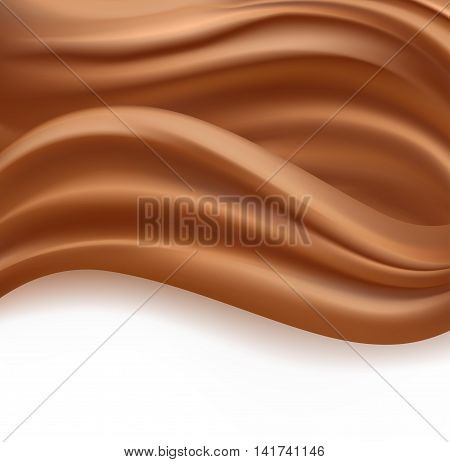 caramel or chocolate creamy milky waves abstract background. vector illustration