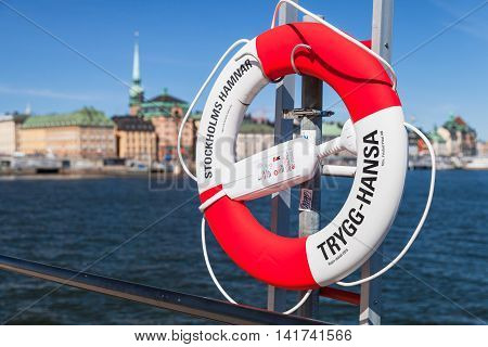 Red And White Ring Buoy In Stockholm