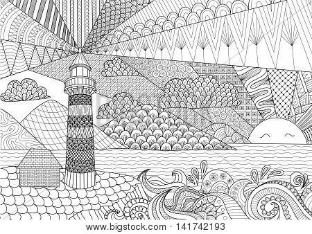 Seascape line art design for coloring book for adult, anti stress coloring - stock vector