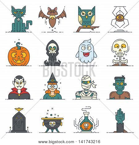 A set of 16 modern flat line style icons for Halloween. Contain cute characters and items: bat cat cauldron death character ghost hand comes up from grave cute monster mummy owl deadly magic potion pumpkin tombstone rip skull spider and vampire