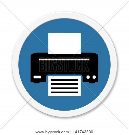 Isolated round blue Button is showing symbol for Printer or Fax