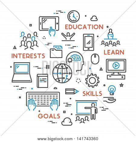 Vector line concept for online university. Linear web banner for online education. Open path.