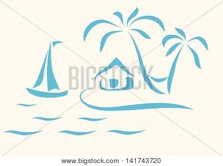 Abstract scene of sea island palm trees with hammock and hut on island.