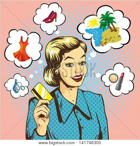 Woman holding credit card vector illustration in retro pop art style. Shopping with bank cards concept.
