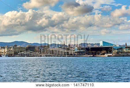Coastline of Barcelona city. Panoramic view of Rambla de Mar in Barcelona city. Spain