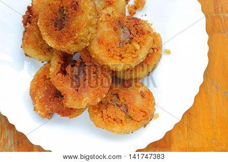 fried sticky rice cake slice one of Vietnam best foods Porridge tie Vietnam