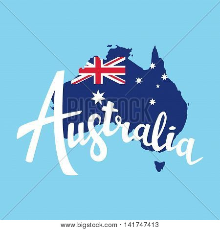 Australia Brush Lettering. Map Of Australia With Flag. Vector Illustration. Isolated Elements