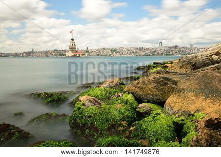 Maiden's Tower of the Istanbul city in Turkey