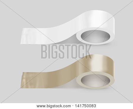 Blank white and yellow duct adhesive tape mockup clipping path 3d illustration. Sticky tape roll design mock up. Clear glue tape template. Packing insulating tape display.