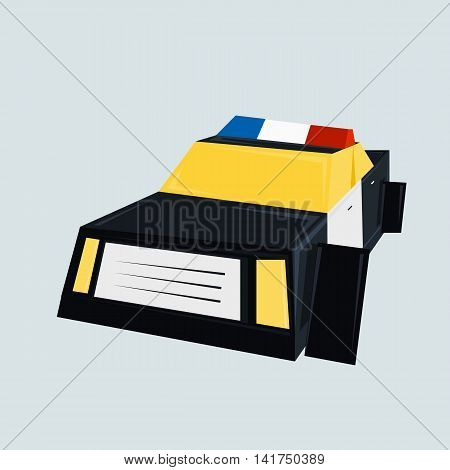 Police car vector illustration isolated on white background.