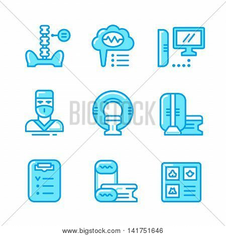 Set color line icons of magnetic resonance imaging isolated on white. Vector illustration