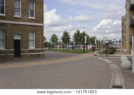 LONDON, UNITED KINGDOM - SEPTEMBER 13 2015: Royal Arsenal Street in Woolwich quartier of London United Kingdom