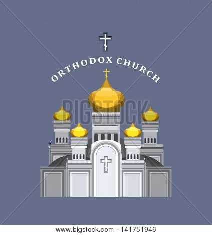 vector illustration on blue background Orthodox church with gold domes