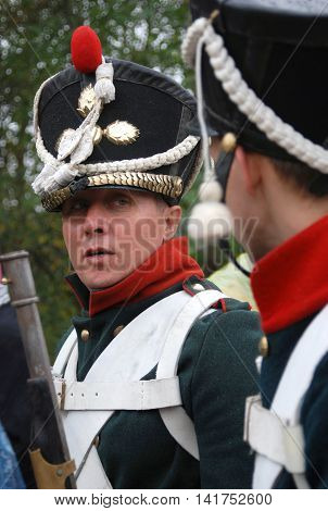 MOSCOW REGION - SEPTEMBER 02: Unknown soldiers at Borodino historical reenactment battle at its 200 anniversary. Taken on September 02 2012 in Borodino Moscow Region Russia.