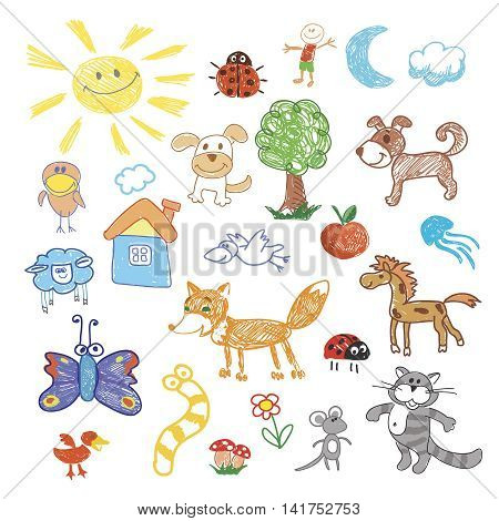 Childrens drawing doodle animals. sheep, dog and fox, cat and snake, butterfly and medusa illustration