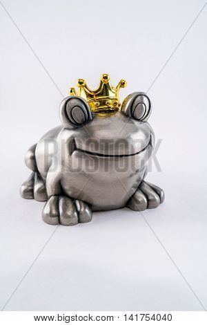 Steel Valentine prince frog with gold crown, waiting for princess.