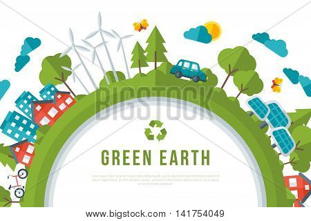 Eco Friendly, Green Energy Concept Frame. Vector Illustration. Solar Energy Town, Wind Turbines, Electric Cars. Save the Planet and Go Green Idea. Earth Day.