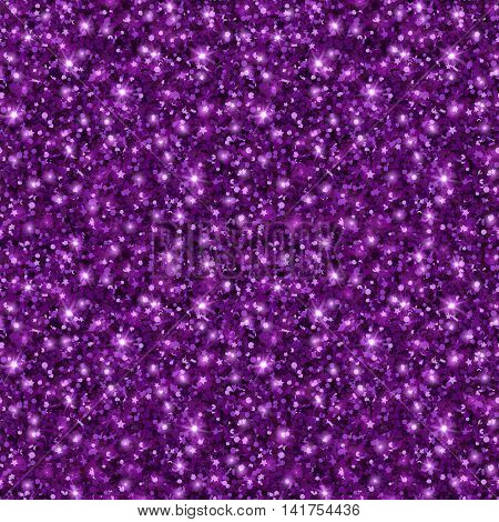 Violet Glitter Texture, Seamless Sequins Pattern. Vector Illustration. Lights and Sparkles. Glowing Holiday Backdrop. Dark Purple Dust.
