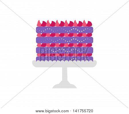 Cakes set. Vector cake icon design element. Birthday cake isolated illustration. balloon fireworks, wedding cake on white background