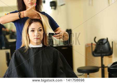Female Hairdresser Hands Holding Comb And Hair Lock