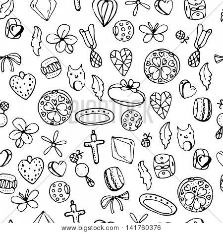 Seamless jewellery pattern with charms, beads, rings. Endless texture, white,black, moochrome