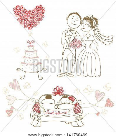 wedding cake with butterflieshappy bride and groom heart made of roses just married on car balloons. cartoon vector illustration