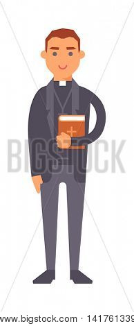 Priest man vector illustration