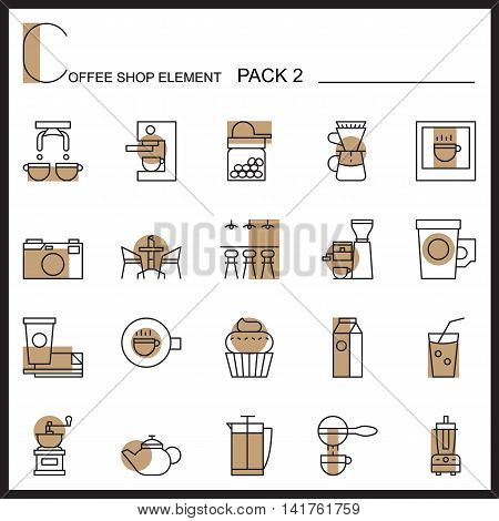 Coffee shop line icons.Color icons pack 2.Pictogram illustration.