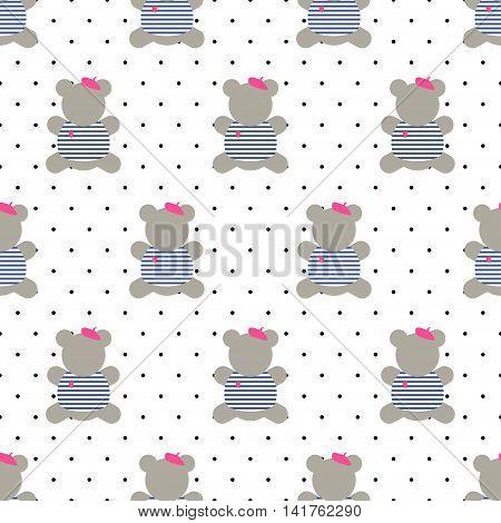 Teddy bear seamless pattern. Cute cartoon french style dressed teddy bear vector illustration on polka dots background. Fashion design for textile, wallpaper, web, fabric, decor etc.