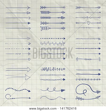 Set of Vector and Drawn Arrow Shaped Elements. Pen Drawing Doodle Outlined Sketched Arrows, Pointers. Vector Illustration. Crumpled Notebook Paper Background Texture