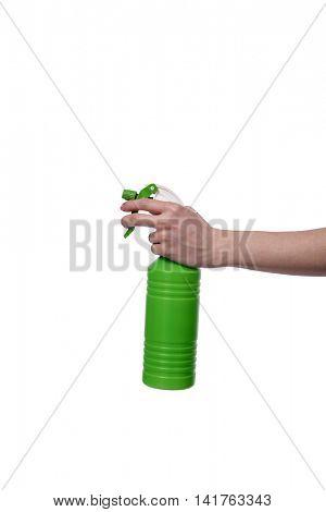 Hand holding garden sprinkler isolated on white